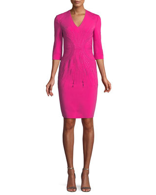 PH15 Embroidered V-Neck Sheath Dress in Fuchsia