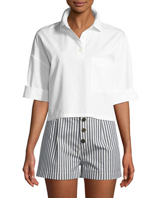 Kule The Keaton Striped Cropped Short-Sleeve Shirt