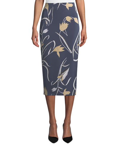 Tailored Midi Pencil Silk-Blend Skirt
