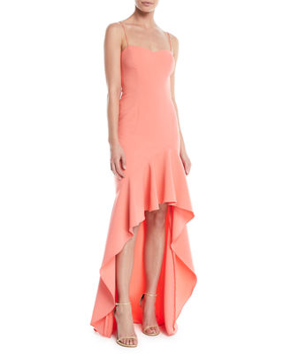 Image 1 of 4: Vita Ruffle High-Low Slip Gown