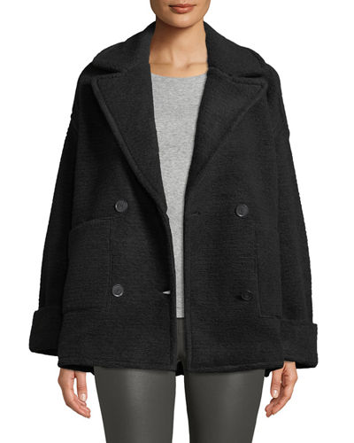 Horizontal Boucle Double Knit Double-Breasted Boucle Pea Coat