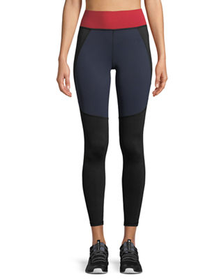MICHI Tidal High-Rise Paneled Leggings in Navy