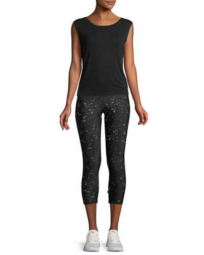 Hologram Splatter Foil-Printed Tall-Band Capri Leggings