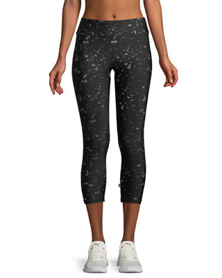 Terez Hologram Splatter Foil-Printed Tall-Band Capri Leggings