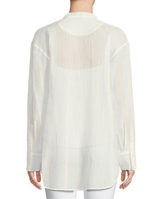 Image 2 of 2: Modern Bib Long-Sleeve Button-Front Cotton Tunic