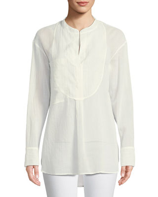 Image 1 of 2: Modern Bib Long-Sleeve Button-Front Cotton Tunic