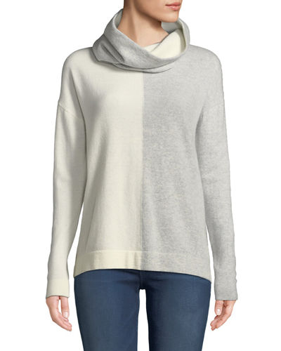Cashmere Colorblock Sweater with Detachable Snood