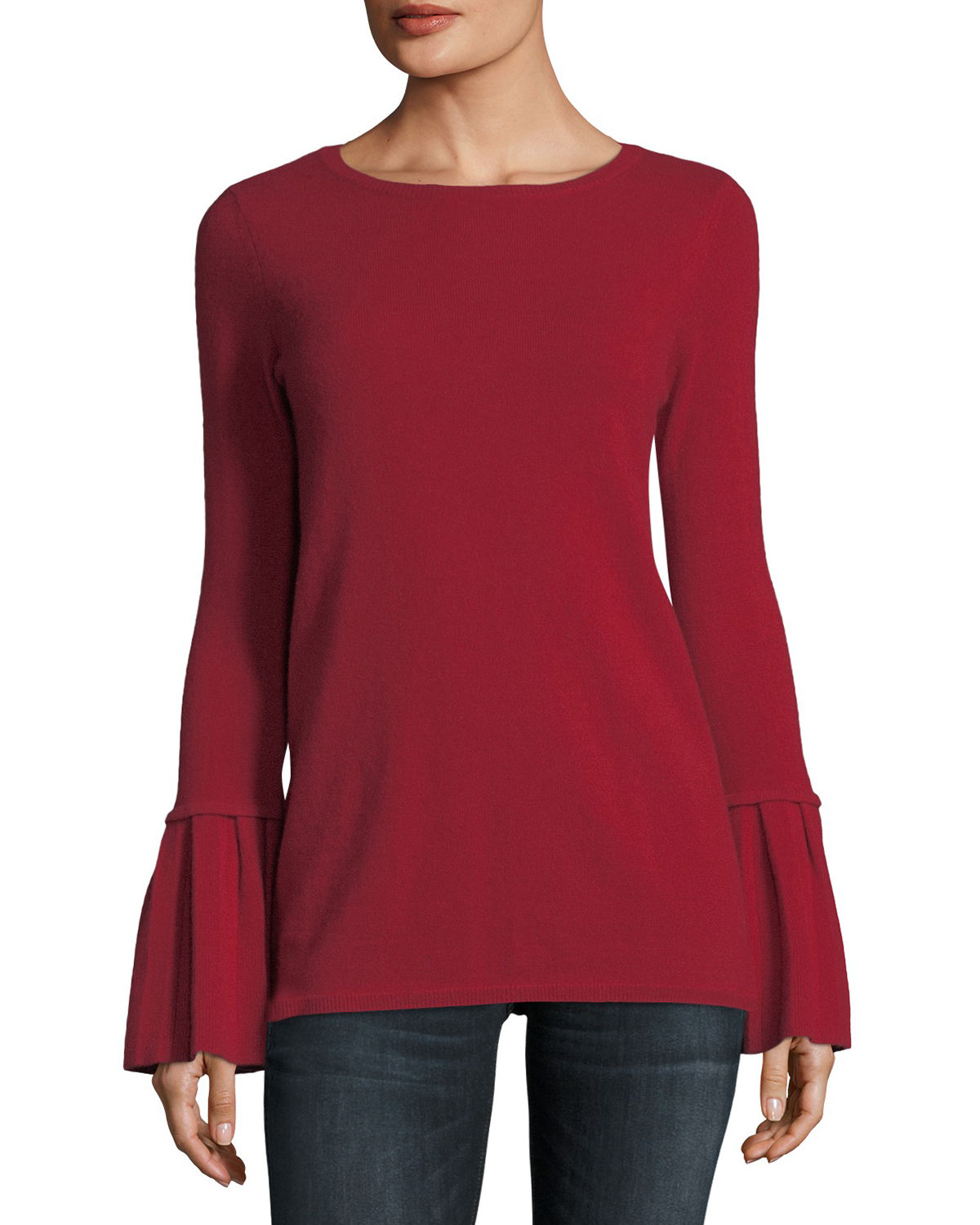 Neiman Marcus Cashmere Collection Cashmere Boatneck: Neiman Marcus Cashmere Collection Pleated Bell-Sleeve Boat