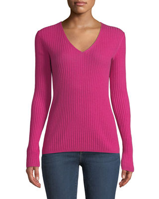 Neiman Marcus Cashmere Collection Cashmere Ribbed V-Neck Sweater