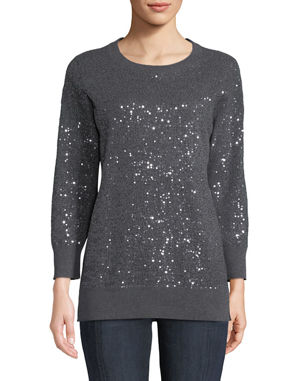 7e75daedad3e96 Neiman Marcus Cashmere Collection Cashmere Sequined Crewneck Sweater
