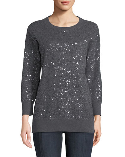Cashmere Sequined Crewneck Sweater