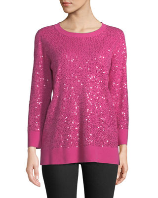 Neiman Marcus Cashmere Collection Cashmere Sequined Crewneck