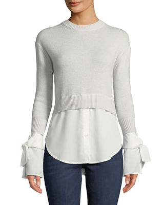 Neiman Marcus Cashmere Collection Cashmere Georgette-Trim
