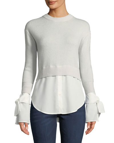 Cashmere Georgette-Trim Crewneck Sweater