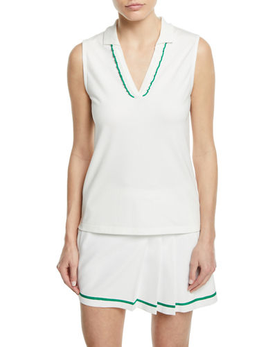 Tory Sport Pique Sleeveless Ruffle Polo Top