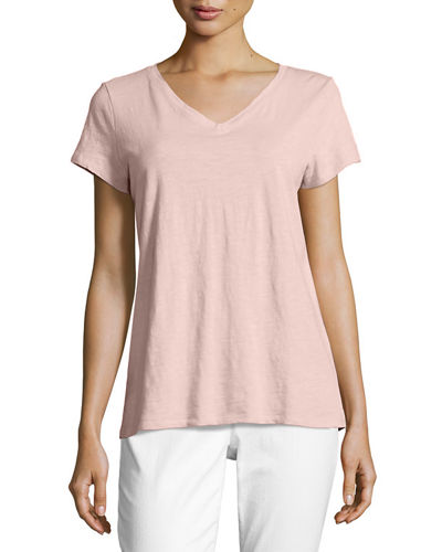 Eileen Fisher Short-Sleeve V-Neck Jersey Tee