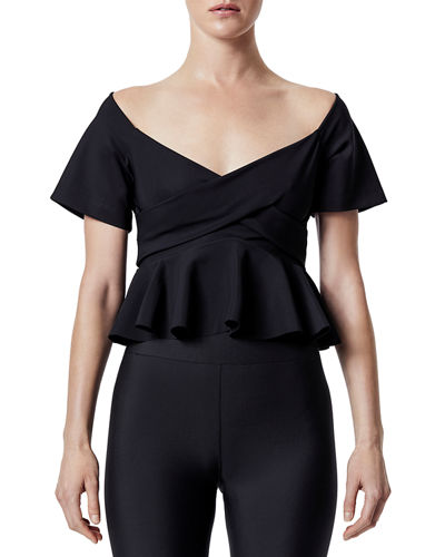 Short-Sleeve Peplum Wrap Top