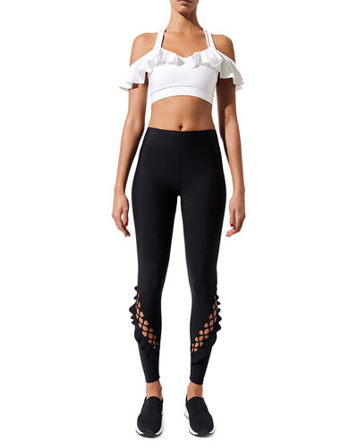 Lace-Up Ruffle Full-Length Leggings