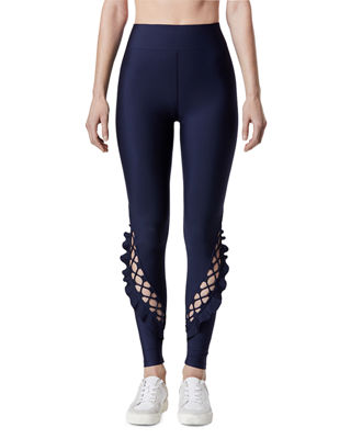 CARBON 38 Lace-Up Ruffle Full-Length Leggings in Navy