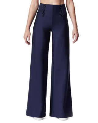 CARBON 38 Lace-Up Wide-Leg Full-Length Pants in Navy
