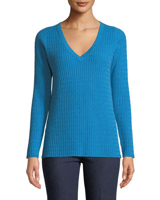 Neiman Marcus Cashmere Collection Baby Cable V-Neck Cashmere