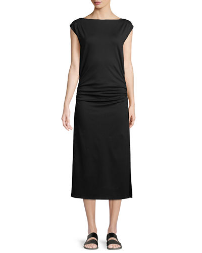 Minimal Ruched Cap-Sleeve Sheath Dress