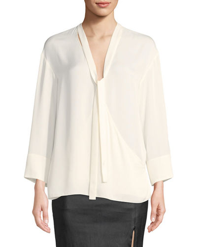 Tie-Neck Long-Sleeve Wrap Top
