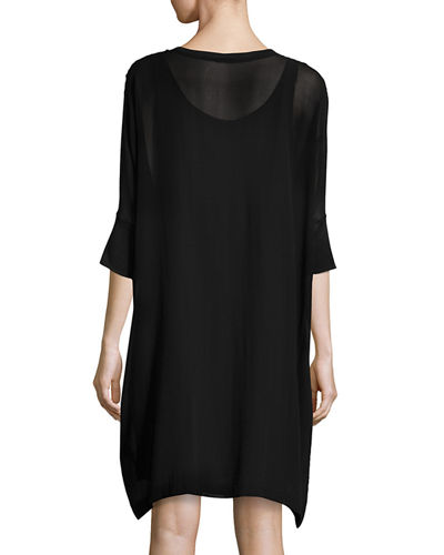 Silk Georgette Round-Neck Shift Dress