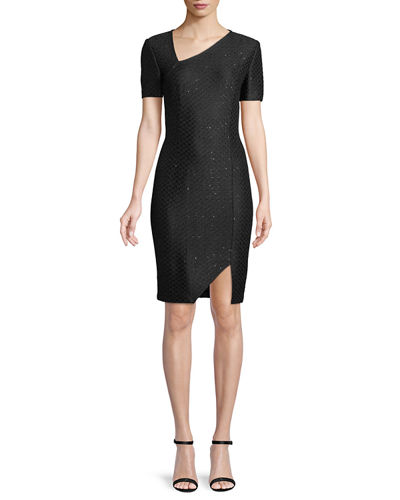 Short-Sleeve Shimmer Sequin Knit Cocktail Dress