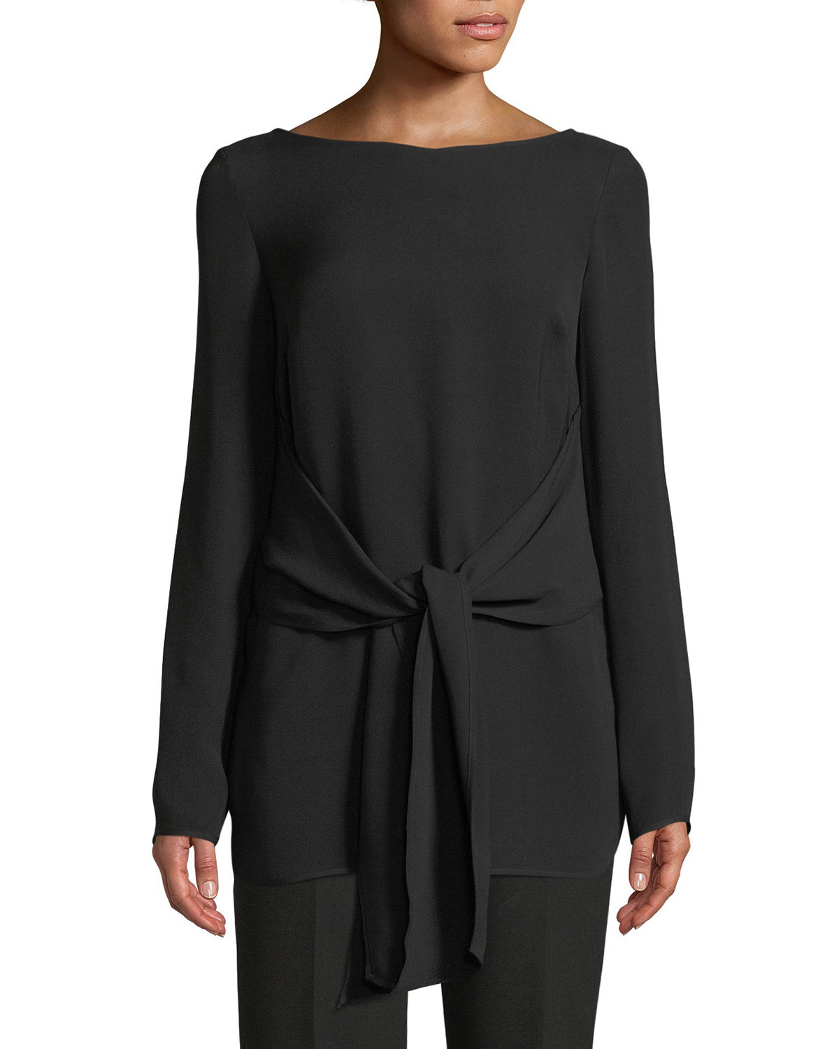 St. John Collection Long-Sleeve Tie-Waist Georgette Top