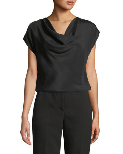 Cap-Sleeve Silk Crepe de Chine Top