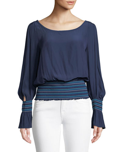 Nellie Smocked Split-Sleeve Top