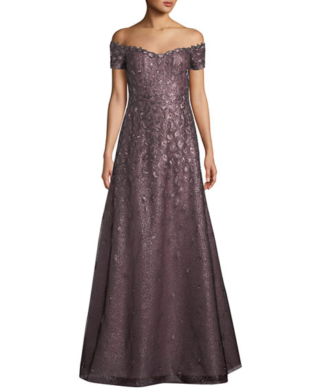 Rene Ruiz Off The Shoulder Lace Gown