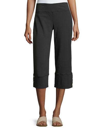 Seascape Button-Cuff Capri Pants