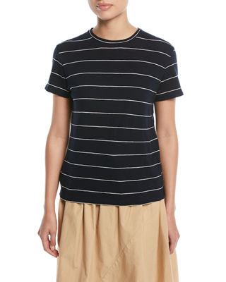 Image 1 of 2: Skinny-Striped Short-Sleeve Cotton Tee