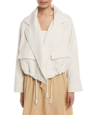 Open-Front Cropped Utility Jacket, Horchata