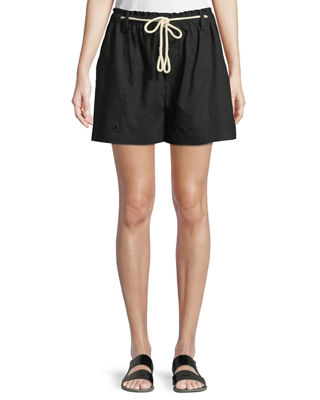 Rope-Trimmed Linen-Blend Shorts in Black