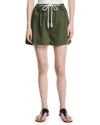 High-Rise Rope-Tie Linen Shorts in Green