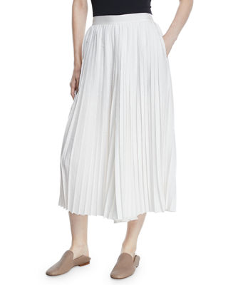 High-Waist Pleated Culotte Pants, Off White