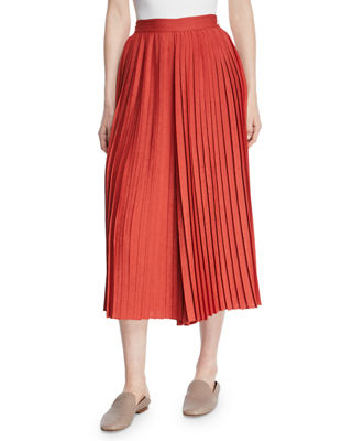 High-Waist Pleated Culotte Pants, Paprika