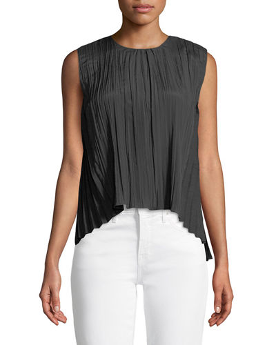Pleated Sleeveless Asymmetric Shell