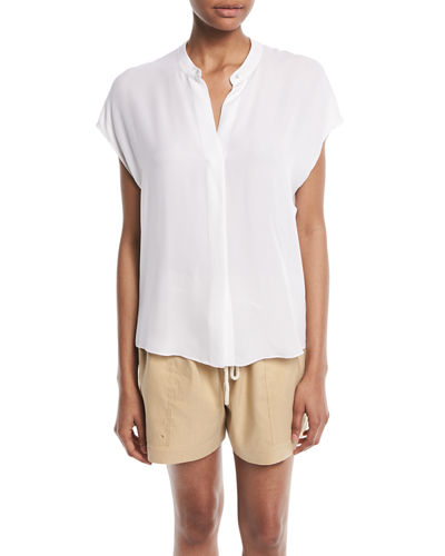 Silk Split-Back Short-Sleeve Popover Top