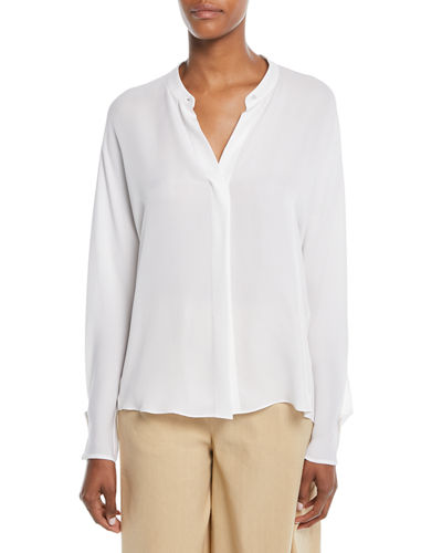 Envelope-Sleeve Silk Split-Back Popover Top