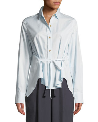 Vince Front-Tie Long-Sleeve Button-Down Top and Matching Items