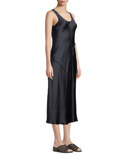 Raw-Edge Silk Tank Dress