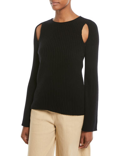 Vince Slit-Shoulder Ribbed Cashmere Sweater and Matching Items