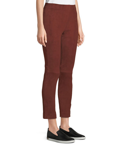 Stretch-Suede Split Hem Crop Pants
