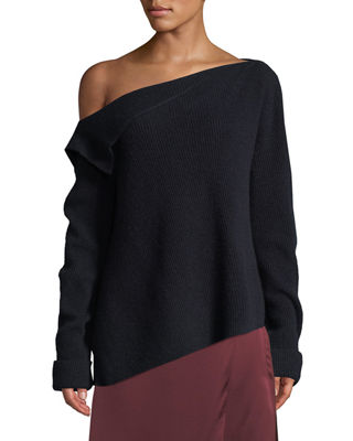 Vince Off-Shoulder Asymmetric Cashmere Pullover Sweater and