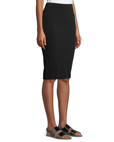 Ribbed Knit Body-Con Skirt