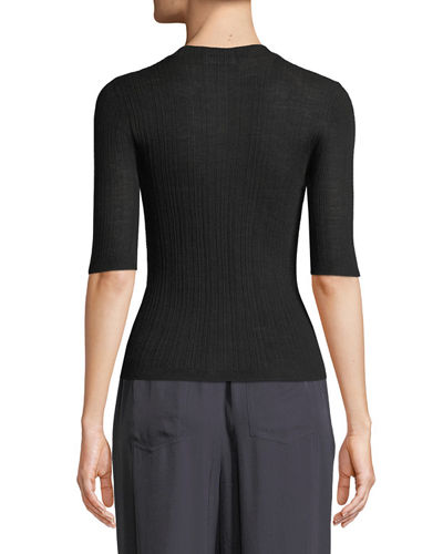 Shrunken Wool Crewneck 3/4-Sleeve Top